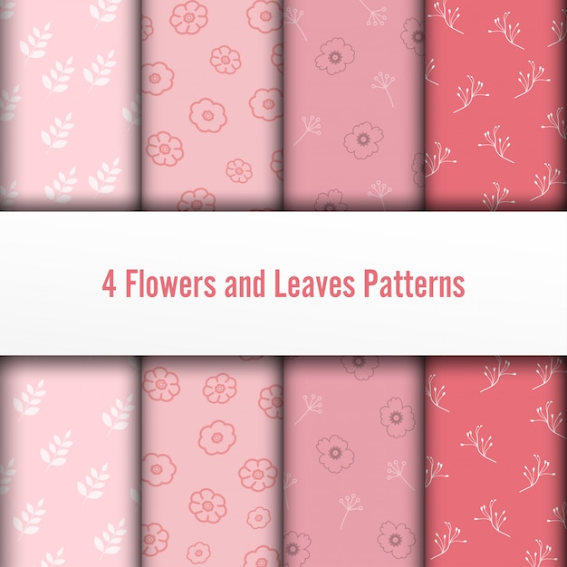 4 set flower and leaves vector seamless patterns. romantic chic texture can be used for printing on fabric and paper or scrap booking. pink colors. Premium Vector