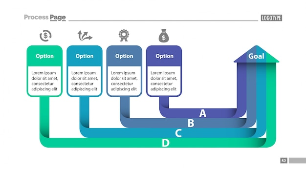 4つのオプション図slidetemplate 無料ベクター