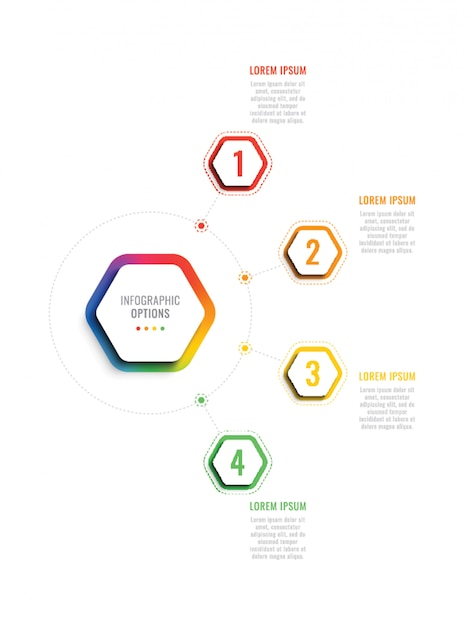 六角形の要素を持つ4 st 3d infogrhicテンプレート。パンフレット、図、ワークフロー、タイムライン、webのオプションを持つビジネスプロセステンプレート Premiumベクター