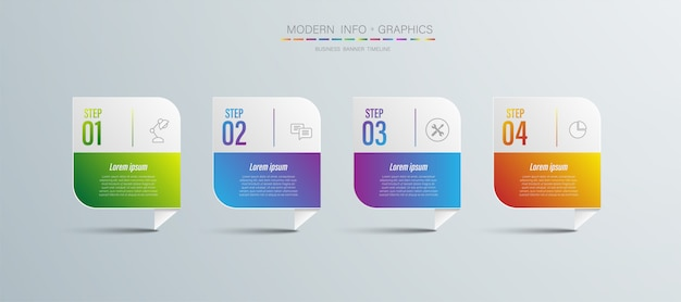 4 step chart origami paper color in vector info-graphic template for diagram presentation chart and
