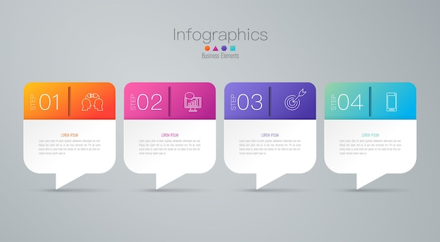 4 steps business infographic elements for the presentation Premium Vector
