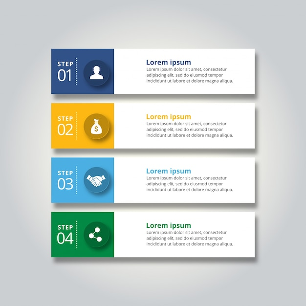 4 steps infographic business banners Free Vector