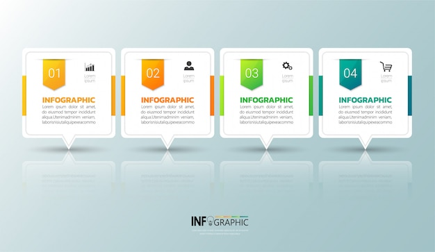 4 steps infographic Premium Vector