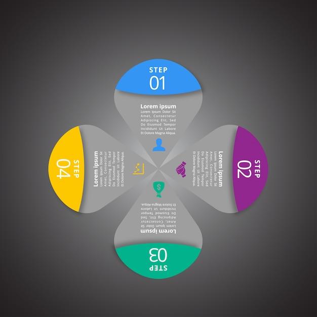 4 fasi di infographic con colori magenta blu e gialli Vettore gratuito