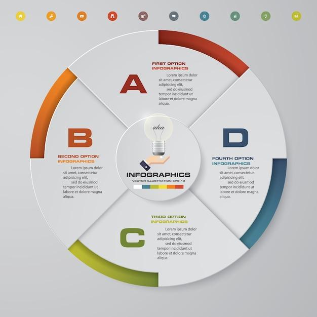 4 steps modern pie chart infographics elements. Premium Vector