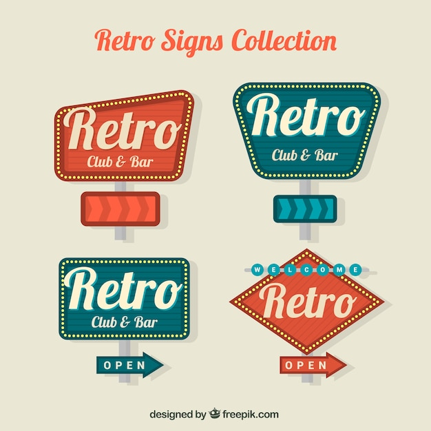 4 vintage signs Vector | Free Download