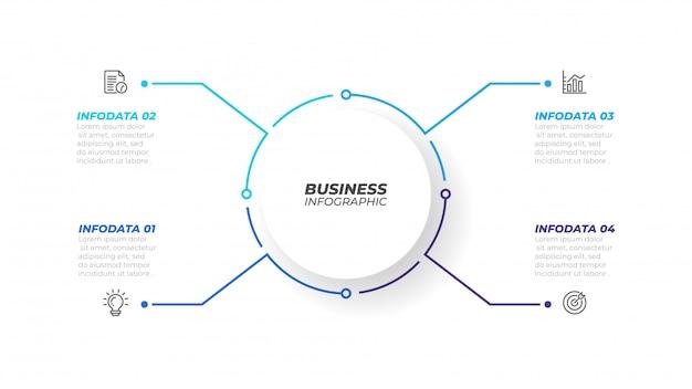 パンフレットの円形の細い線インフォグラフィック要素。 4つのオプション、ステップ、またはプロセスを備えたビジネスコンセプト。ベクトルイラスト。ワークフロー図、年次報告書、webデザインに使用できます。 Premiumベクター