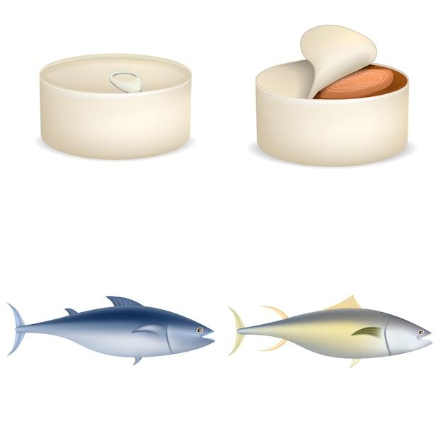 マグロの魚はアイコンセットをステーキすることができます。 4マグロの現実的なイラストはwebのベクトルのアイコンをステーキすることができます。 Premiumベクター