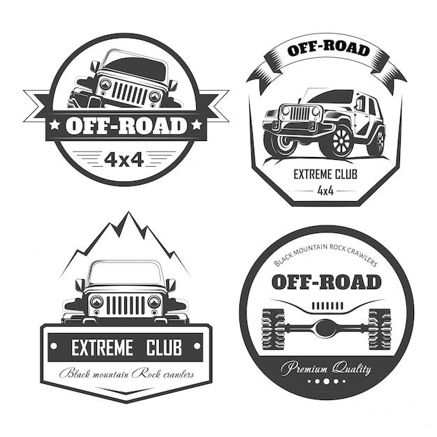 オフロード4 x 4エクストリームカークラブのロゴのテンプレート。ベクトル記号 Premiumベクター