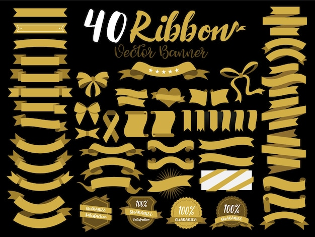 40 gold ribbons Premium Vector