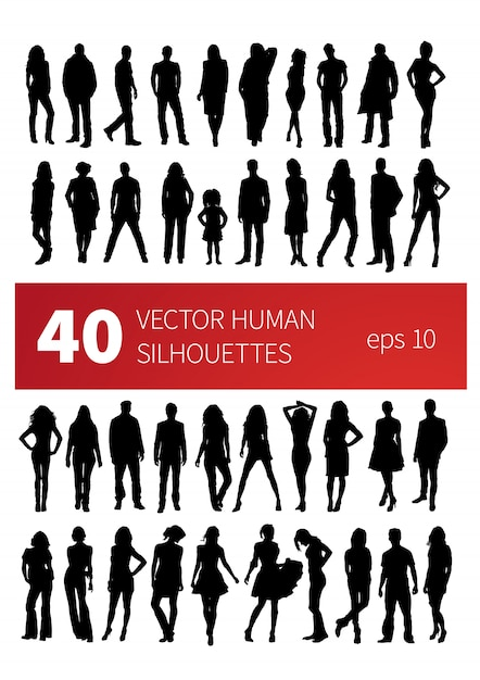 40 silhouettes of people in various poses isolated on white Premium Vector
