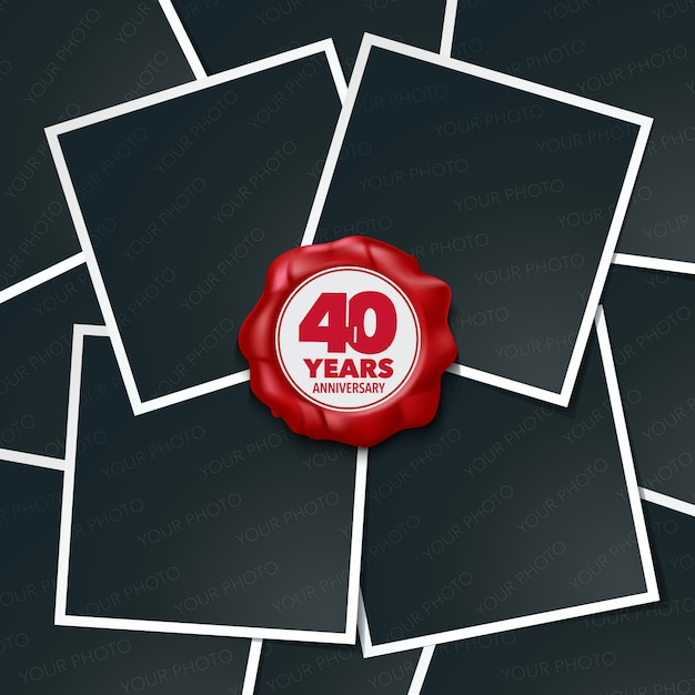 40 years anniversary. collage of photo frames and red wax stamp 40th anniversary Premium Vector