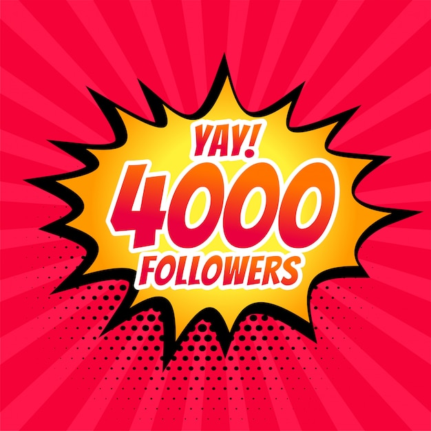4000 social media followers post in comic style Free Vector