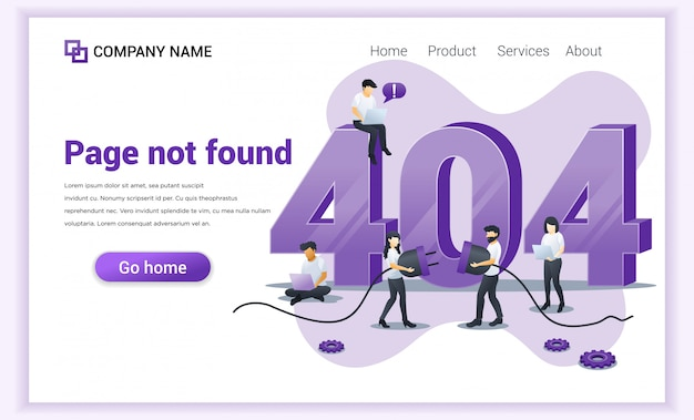 Концепция ошибки 404. люди пытаются исправить ошибку на странице сайта возле большого символа 404 Premium векторы