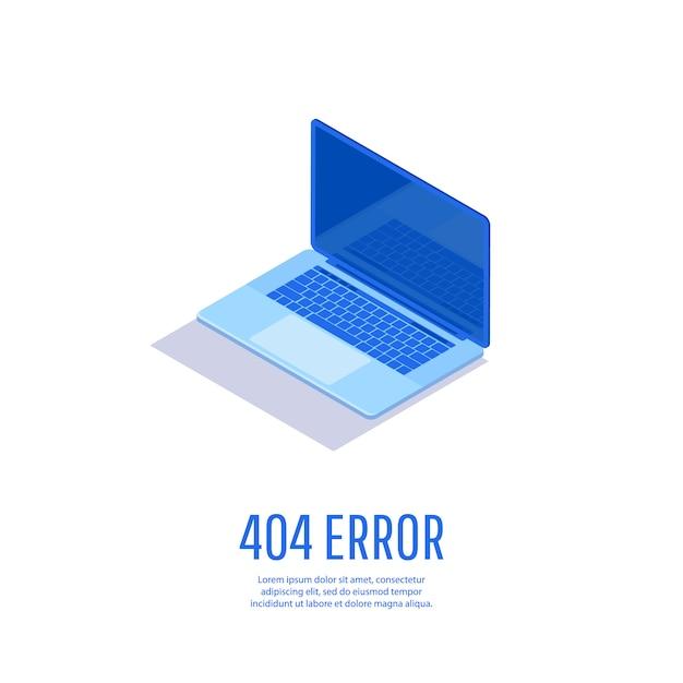 エラー404ページが見つかりません。ノートパソコンのディスプレイに404エラーがあるページ。 Premiumベクター