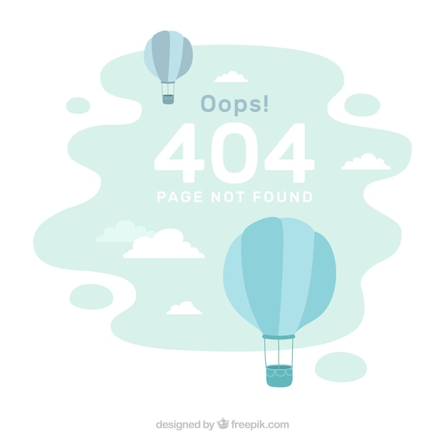 404 error background with balloons in flat style Free Vector