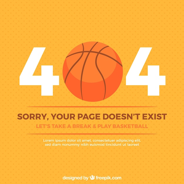 404 error background with basketball Free Vector