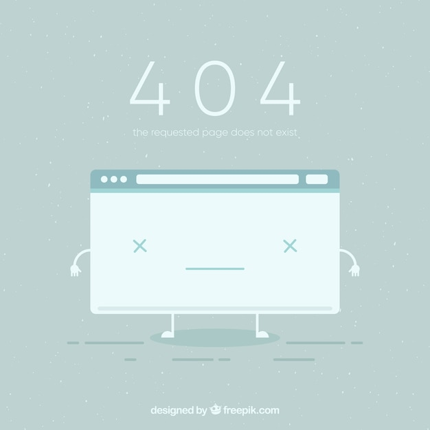 404 error background with broken page in flat style Free Vector