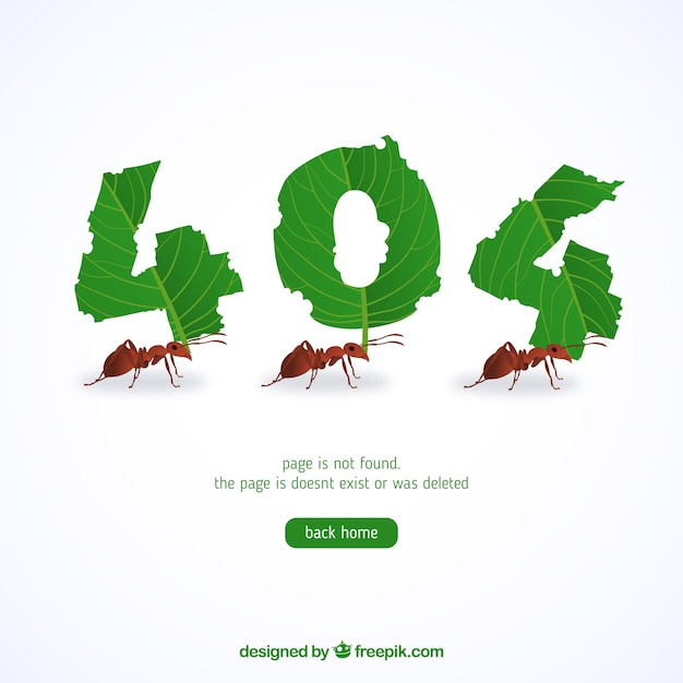 404 error background with bugs Free Vector