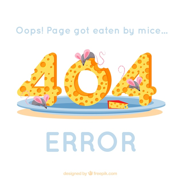 404 error background with mice eating cheese Premium Vector