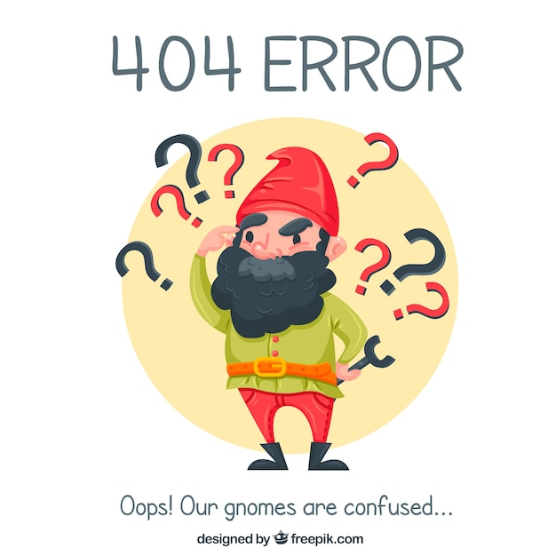 404 error background with nice gnome Free Vector