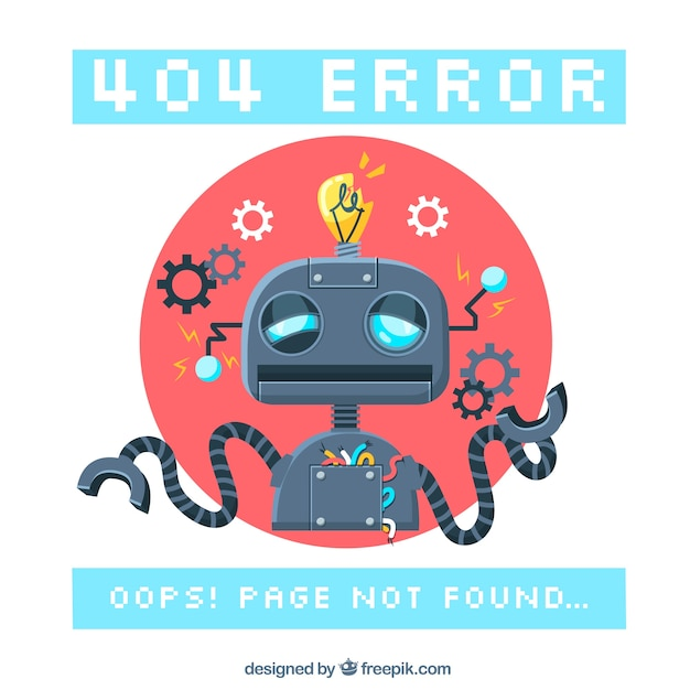404 error background with a robot Free Vector