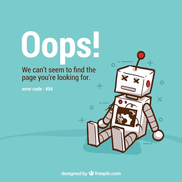404 error background with robot Free Vector