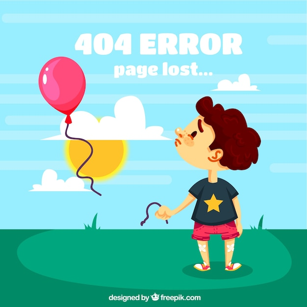 404 error background with sad child and balloons Free Vector