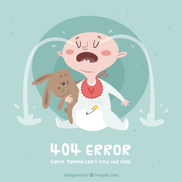 404 error concept with crying baby Free Vector
