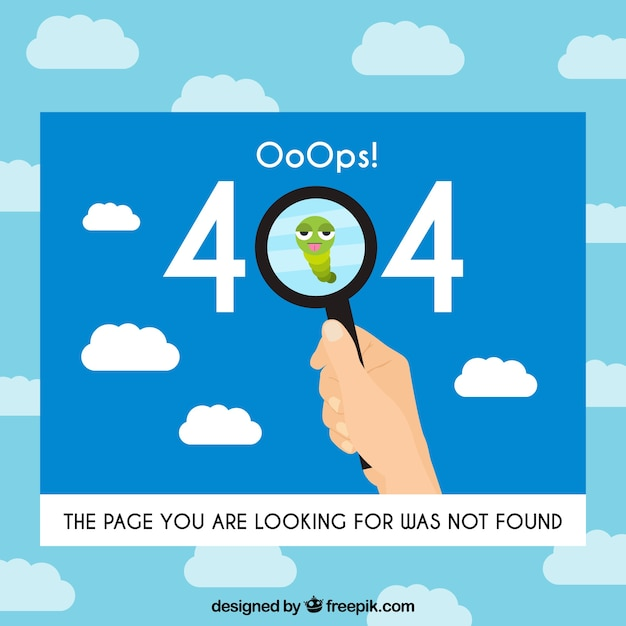 404 error concept with magnifying glass Free Vector