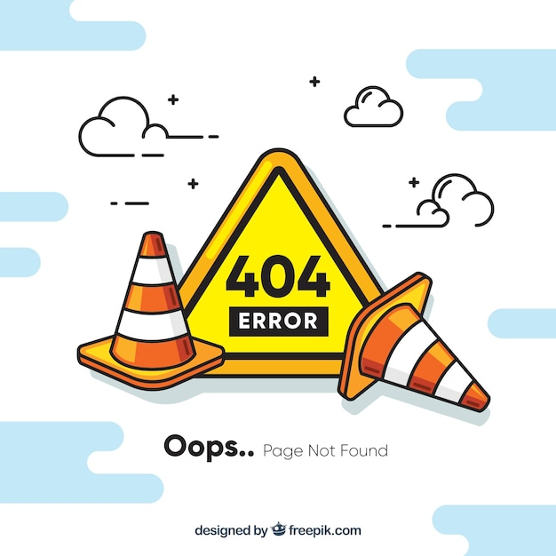 404 error concept with roadworks Free Vector