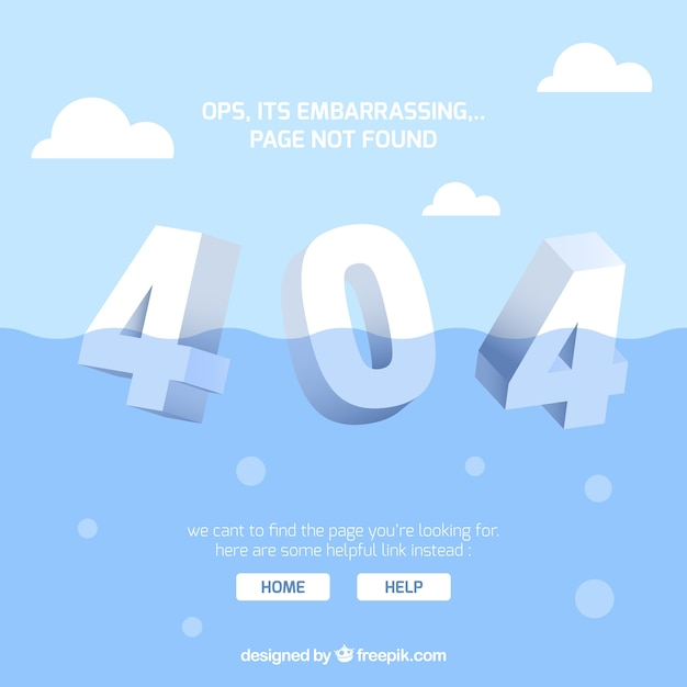 404 error concept with water Free Vector