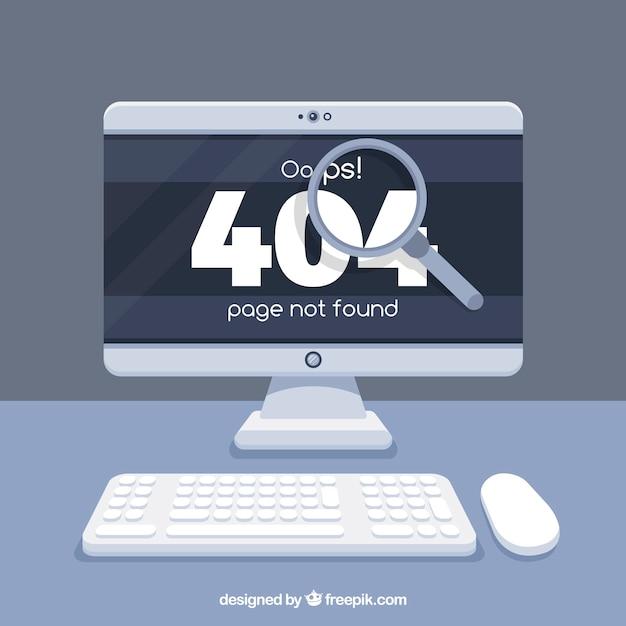 404 error design with computer Free Vector