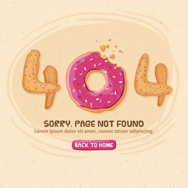 404 error design with donut Premium Vector