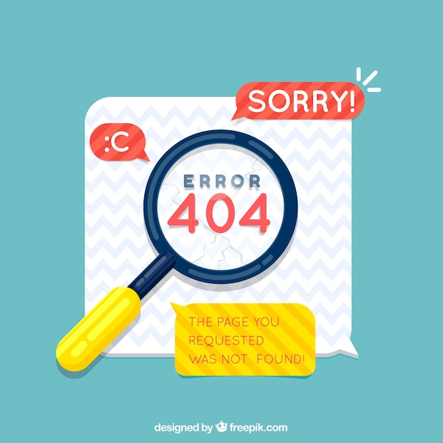404 error design with magnifying glass Free Vector