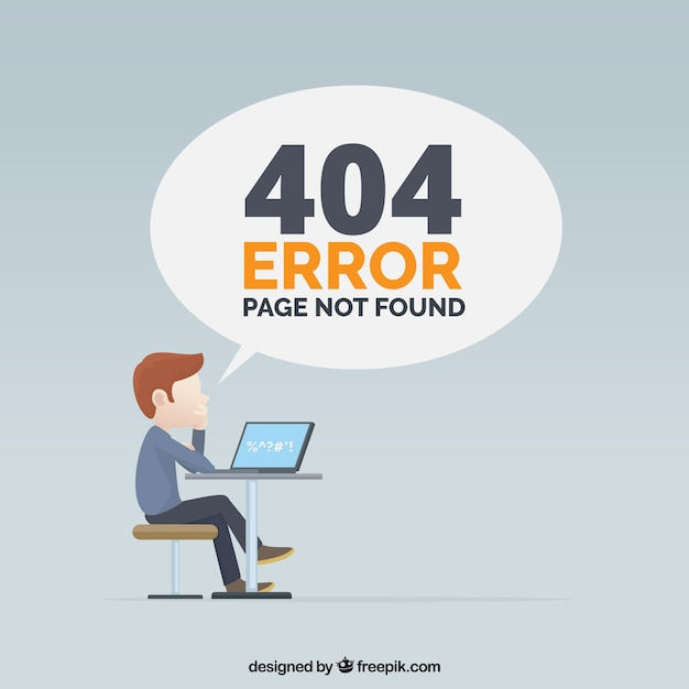 404 error design with man Free Vector