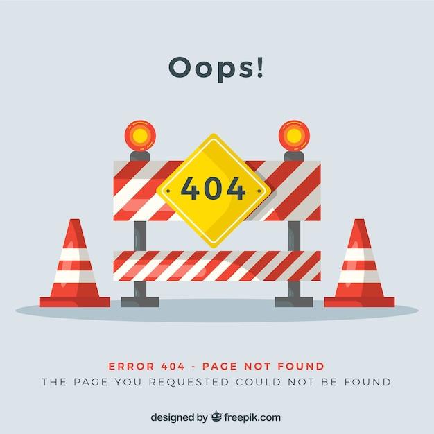 404 error design with roadworks Free Vector