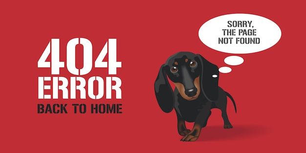 404 error page, banner with not found text. cute dog on background for error 404 concept web design element Premium Vector