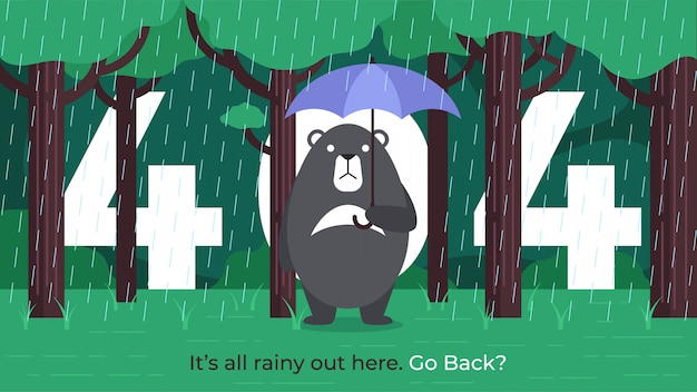 404 error page - black bear under umbrella in rain Premium Vector