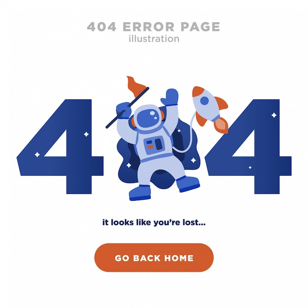 404 error page not found design with astronaut and rocket Premium Vector