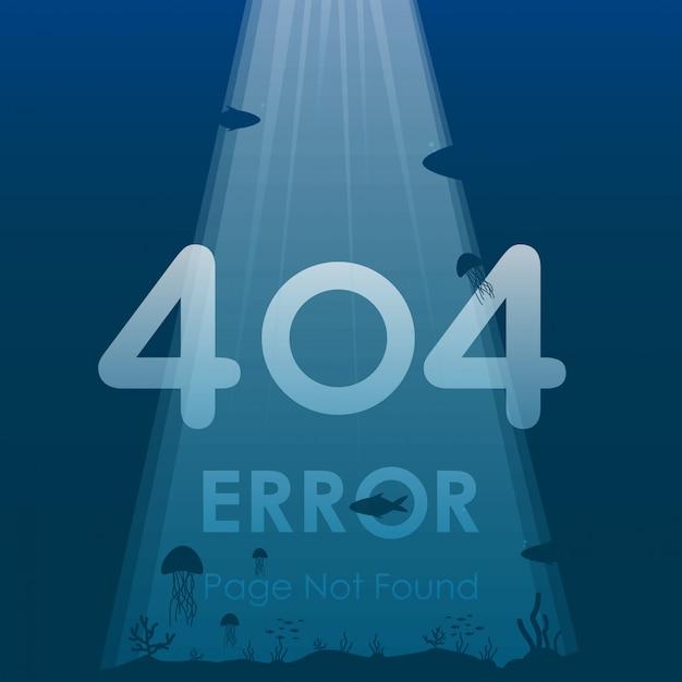 404 error page not found in under ocean background design Premium Vector