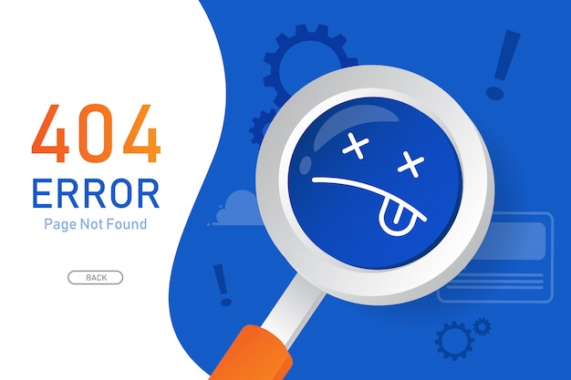 404  error page not found vector with magnifying glass graphic  design template for website Premium Vector