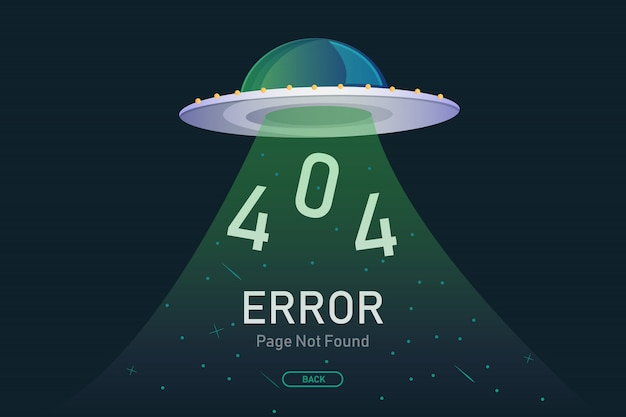 404  error page not found vector with ufo Premium Vector