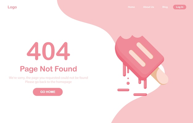 404 error page not found web. melting ice cream or frozen juice, sorbet, dessert. system error, broken page. for website. web template. pink Premium Vector