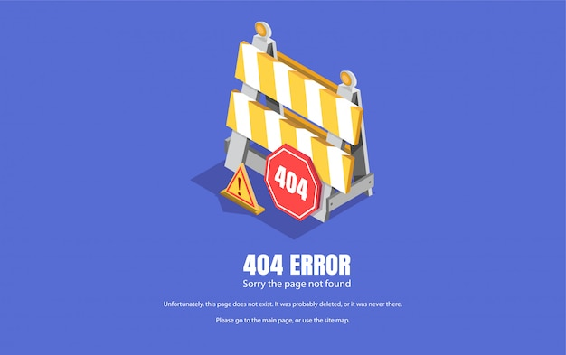 404 error, repair sign. isometric illustration, background for web pages. Premium Vector
