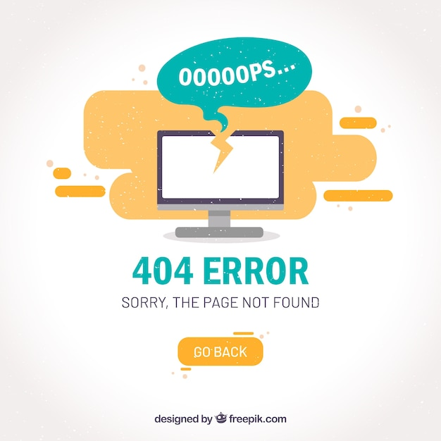 404 error template  with computer Free Vector