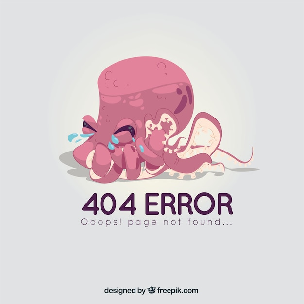 404 error template with octopus in hand drawn style Vector | Free ...