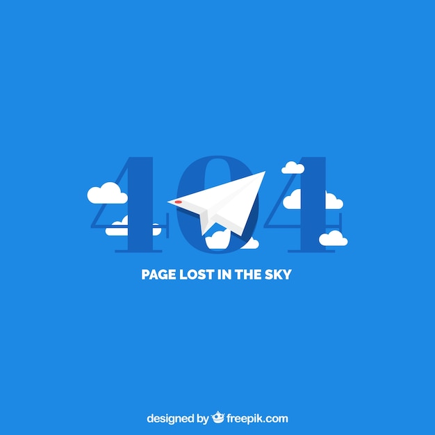 404 error template with paper airplane in flat\ style