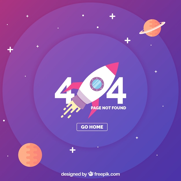 404 error template with space and ship in flat style Free Vector