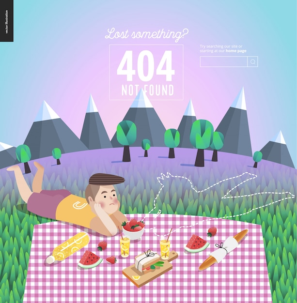 404 error template of young couple on picnic Premium Vector